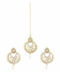 Adoreva White Stone Gold Plated Bollywood Earrings Tika Set