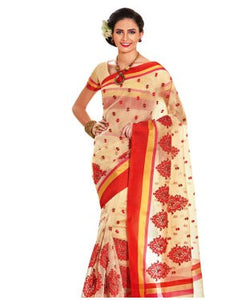 Off white embellished supernet saree