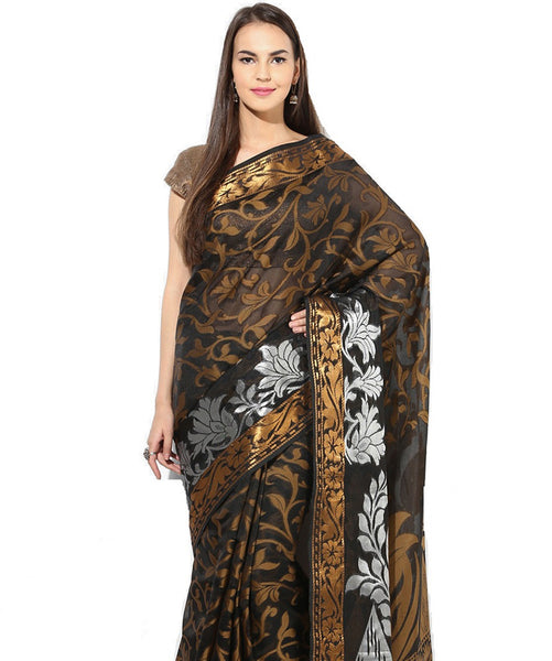 Cotton Silk Blend Multi Zari Work Saree.JF1350BEL_Black