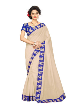 16to60trendz Beige Chanderi Lace Work Chanderi Saree $ SVT00246