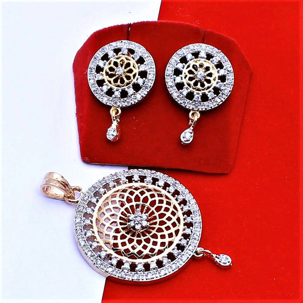 Ankita Fashion Gold Plated American Diamond AD Jari round pendant set $ AF78861237