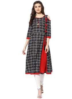 Mytri Women's Black & Red Cambric Printed Cold Shoulder A-Line Kurta $ 9000500-BLACKRED