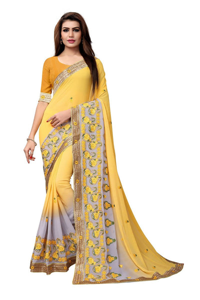 YOYO Fashion Embroidered Georgette Yellow Saree With Blouse $ SARI2612-Yellow