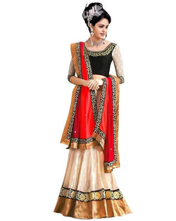 Muta Fashions Women's Semi Stitched Banglori Silk Orange Lehenga $ LEHENGA15