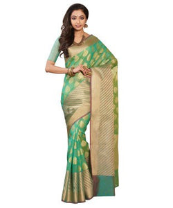 Laethnic Green Supernet Woven Saree
