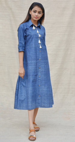 Blue Khadi Cotton Button Down Tunic $ IWK-000500