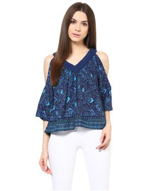 Miway Women Navy Border Printed Top