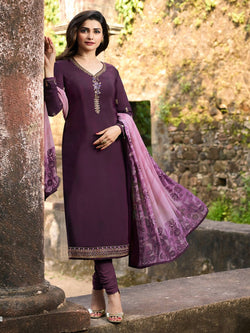 YOYO Fashion Purple Crepe Straight Semi-Stitched Salwar Suit With Dupatta $ F1293