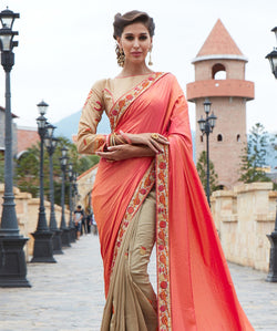 Orange Jecart Embroidery Saree with Blouse