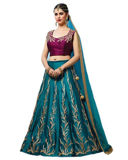 Muta Fashions Women's Semi Stitched Tafeta Silk Sea Green Lehenga $ LEHENGA82