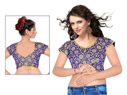 Manvi Fashion Exquisite Designer blouse in Brocade fabric wedding blouse Blue color good Lace Readymade Blouse $ MF 1655