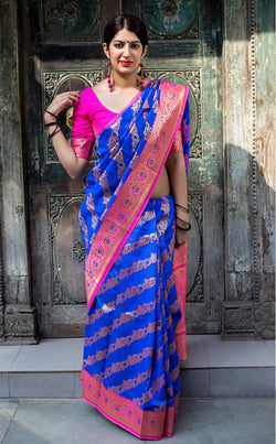 Fashion Zonez Woven Work Banarasi Silk Blue Designer Saree With Blouse $ FZ 2605