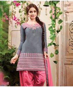 Leemboodi Fashion Grey Unstitched Suit With Dupatta