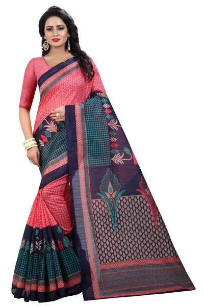16TO60TRENDZ Pink Color Printed Bhagalpuri Silk Saree $ SVT00481