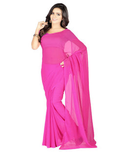 Muta Fashions Women's Unstitched Georgette Pink Saree $ MUTA215