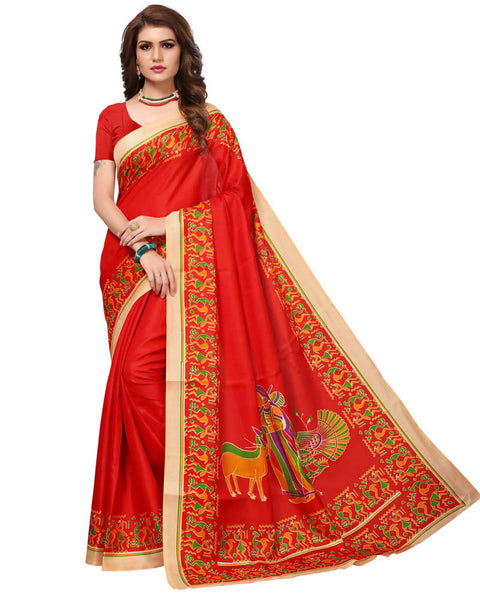 Muta Fashions Women's Unstitched Khadi Silk Red Saree $ MUTA1482