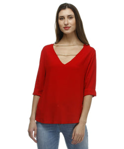 Glam a gal red 3/4 sleeve top