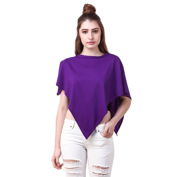 Fame 16 Short Sleeves Women's Purple Cotton Solid Capes $ F16-1600163