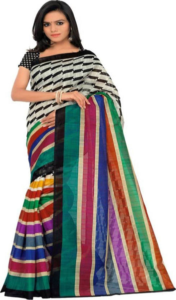 16TO60TRENDZ Multi Color Printed Bhagalpuri Silk Saree $ SVT00424