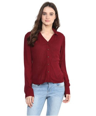 Miway Maroon Solid Regular Top