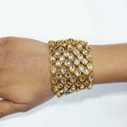 Gold Plated Glass Stone Kundan Women's Bracelate $ AC0015