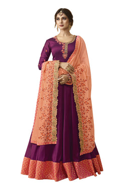 YOYO Fashion Purple Silk Anarkali Salwar Suit & YO-F1305