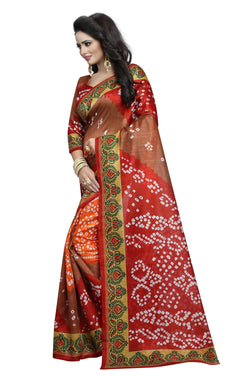 16TO60TRENDZ Multi Color Printed Bhagalpuri Silk Saree $ SVT00430