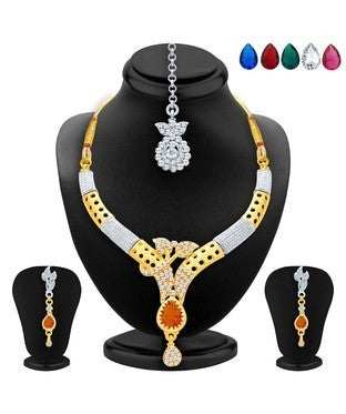 Sukkhi Sublime Gold & Rhodium Plated AD Necklace Set with Set of 5 Changeable Stone For Women
