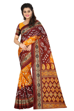 16TO60TRENDZ Red Color Printed Bhagalpuri Silk Saree $ SVT00436