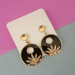 Gold Plated Black Enamel Dangler Earrings