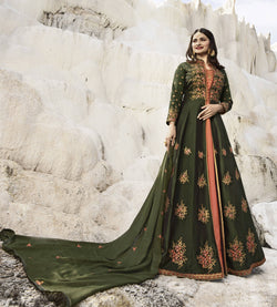 YOYO Fashion Viscose Satin Mahendi Embroidered Semi-stitched Anarkali Salwar Suit $ YO2-F1262
