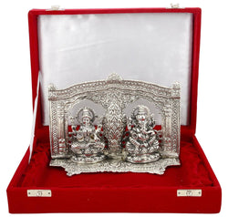 International Gift Silver Plated Laxmi Ganesh Murti With Velvet Box Packing (16 Cm, Silver) $ GSI-102