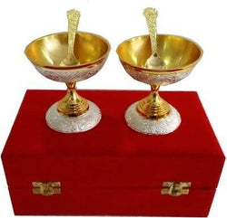 German Silver Ice Cream Bowl with Spoon with Beautiful Velvet Box Packing (Set of 4 pics, Gold) $ SKU - 149