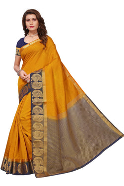 16to60trendz Yellow and Blue Tusar Silk Handloom Art Work Kanjivaram saree $ SVT00033