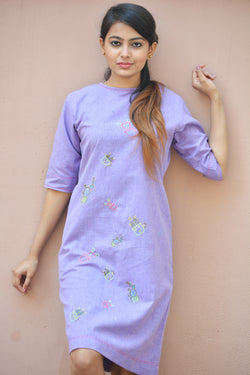 Purple Khadi Cotton Cactus Tunic $ IWK-000593