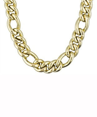 Figaro Design 18k Yellow Gold Over Bronze Necklace