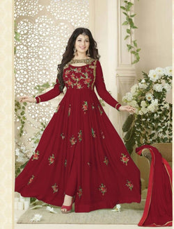 YOYO fashion Stylish Designer Embroidered Gerorgette Bollywood Anarkali Salwar suit - YO-F1016