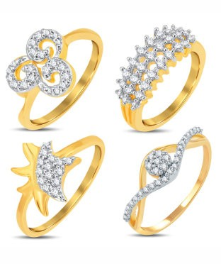 Sukkhi Valentine Collection Marvellous Gold & Rhodium Plated CZ Combo With Rose Box For Women Pack Of 4