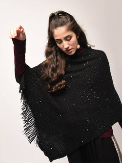 Aiyra Black Color wollen sequined fringed edge poncho $ AR15801896_free size