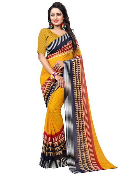 Muta Fashions Women's Unstitched Georgette Yellow Saree $ MUTA1552