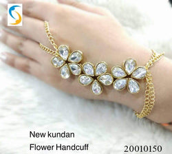 Gold Plated Glass Stone Three flower Hand ring chain Women's Bracelate $ AC0018