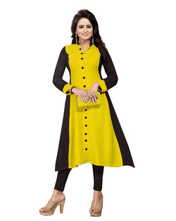 Muta Fashions Women's Semi Stitched Casual Crepe Yellow Kurti $ KURTI350