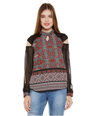 Oxolloxo Multicolor Printed Long Sleeve Top