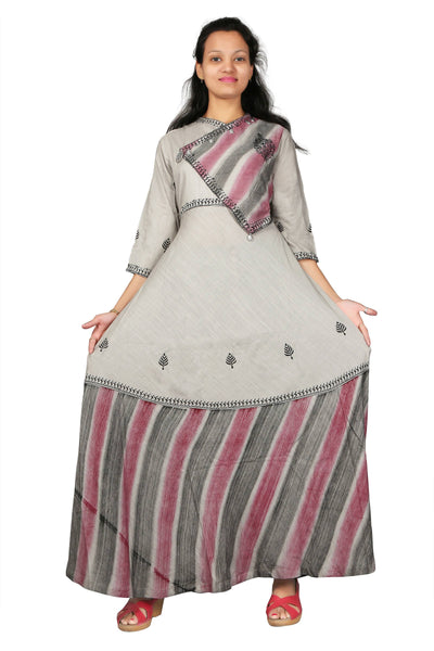 MV FASHION Reyon Cotton Embroidered & Printed Grey Gown $ MV_G_1208
