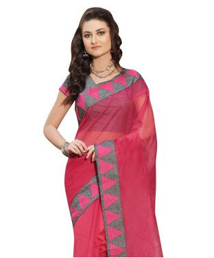 Laethnic Dark Pink Plain Supernet Saree