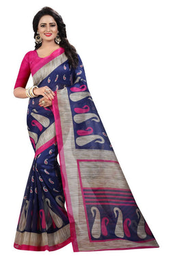 16TO60TRENDZ Blue Color Printed Bhagalpuri Silk Saree $ SVT00510