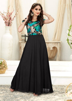 Manvi Fashion Women's Black Color Jacquard Fabric Embroidery Work Gown $ MF 2551