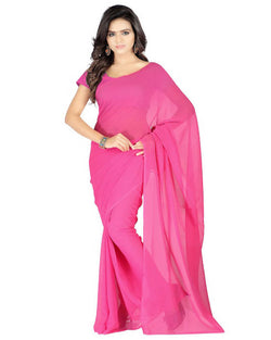 Muta Fashions Women's Unstitched Georgette Pink Saree $ MUTA212