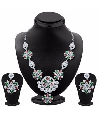 Sukkhi Splendid Rhodium Plated AD Necklace Set