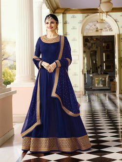 YOYO Fashion  Latest Fancy Semi-stitched Faux Georgette Embroidered Anarkali Salwar Suit $F1216-Blue